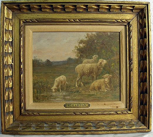 A SMALL OIL ON BOARD OF GRAZING SHEEP