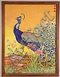 A LARGE FINELY-EXECUTED WATERCOLOR ON ARTIST BOARD OF A VIBRANT PEACOCK AND LILIES, Ernst Eck, Click for value