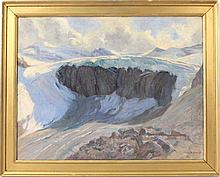 Oil on Canvas, Mountainscape, Jules Jequier