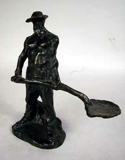 """A BRONZE STATUE, TITLED """"MAN WITH SHOVEL"""""""