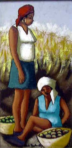 A HAITIAN OIL ON CANVAS, scene with two women, one seated