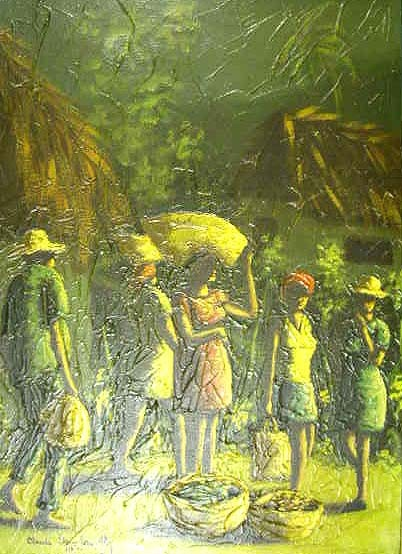A HAITIAN OIL ON CANVAS, scene with natives with bowls of