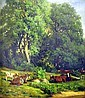 AN OIL ON CANVAS;depicting resting cows on the edge of a for, Marcus A Waterman, Click for value