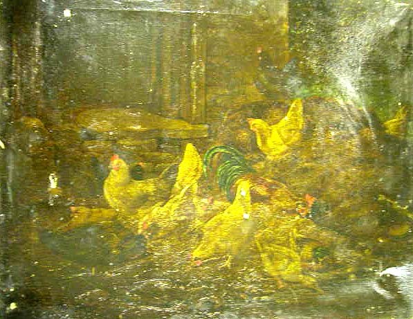 AN OIL ON CANVAS;depicting chickens in a barn, Albert Heinri
