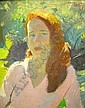 AN OIL ON CANVAS;depicting a luminous young redhead in a sun, Henry Hensche, Click for value