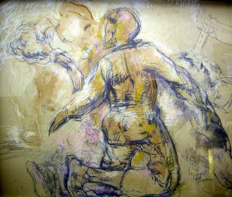 A CHALK AND INK DRAWING ON PAPER;Marcy, signed l.c. Anne Poo