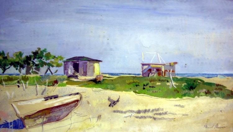 A WATERCOLOR ON PAPER;depicting a beach scene, signed l.r. K