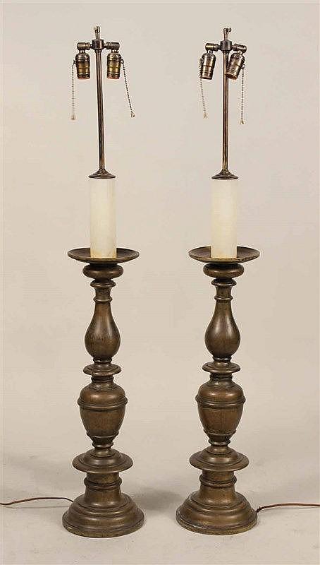 Two Baroque Style Brass Altar Sticks