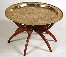 Embossed Brass Tray on Stand