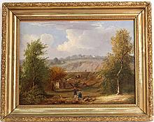 Oil on Canvas, Two Figures in a Landscape