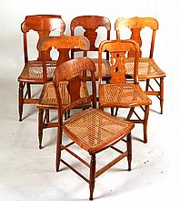 Six Similar Tiger Maple Rush Seat Chairs