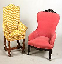 Victorian Pine-Upholstered Mahogany Armchair