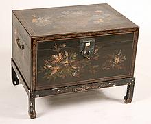 Chinese Paint-Decorated Chest on Stand