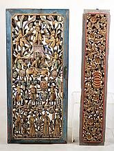 Two Painted Carved Wood Architectural Elements