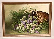 Oil on Canvas, Flowers in a Basket