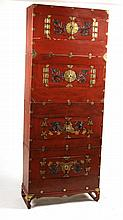 Chinese Red-Painted Stacking Cabinet