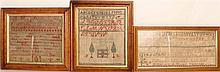 Three Framed Red English Samplers