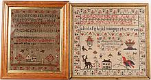 Two English Samplers with Houses