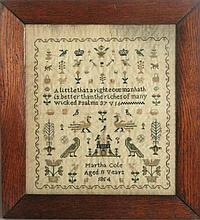 1854 Sampler, Crowns and Peacocks