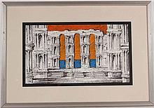 Mixed Media on Paper, Classical Ruins