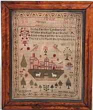 Needlepoint Sampler with Red Houses