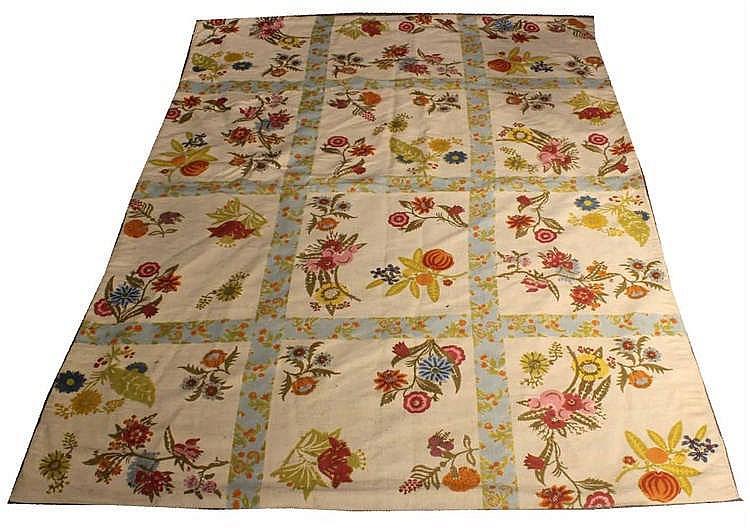 Floral-Decorated Cotton Carpet