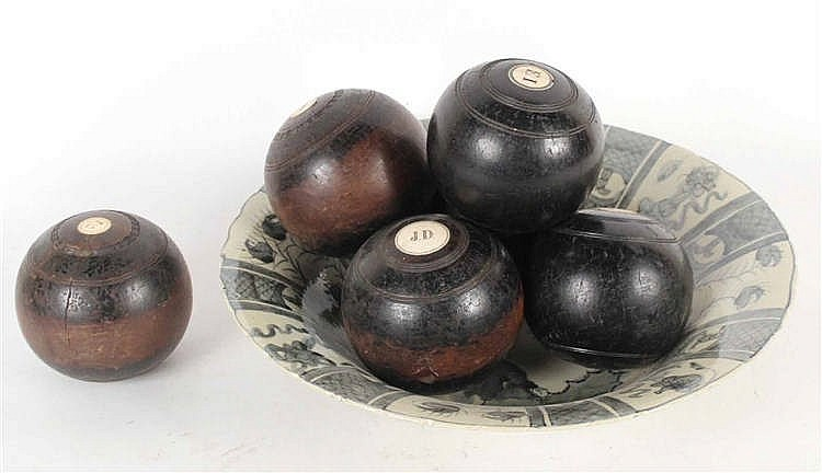 Six Carved Wood Lawn Balls