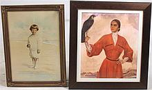 Mixed Media on Paper, Woman with Falcon