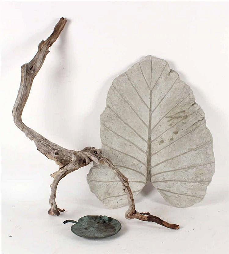 Cast-Stone Leaf-Form Sculpture