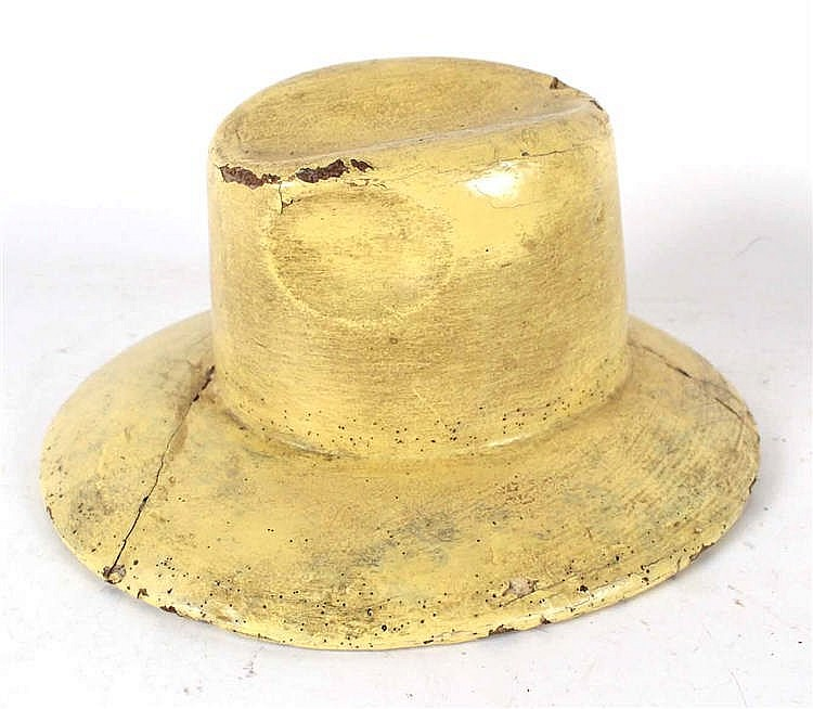 Yellow Painted Wood Hat Makers Mold