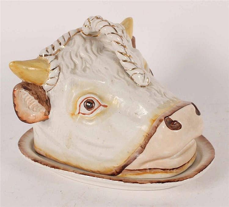 Glazed Ceramic Bull Head Cheese Cover