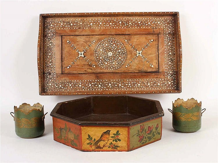 Chinese Octagonal Painted Wood Tray