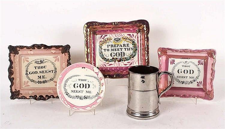 Four Lusterware Porcelain Religious Wall Plaques