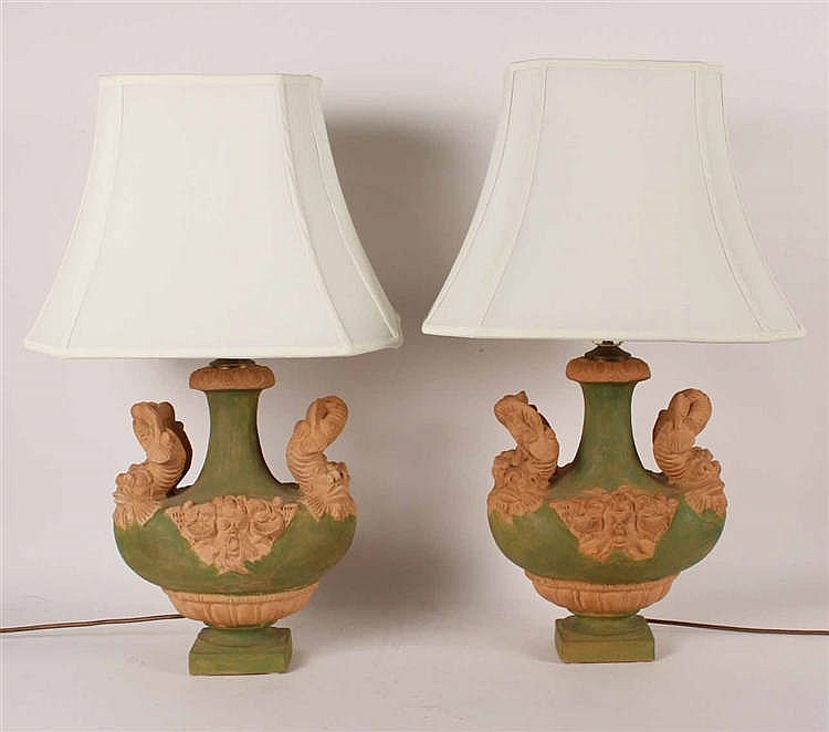 Pair of Green-Glazed Terracotta Table Lamps