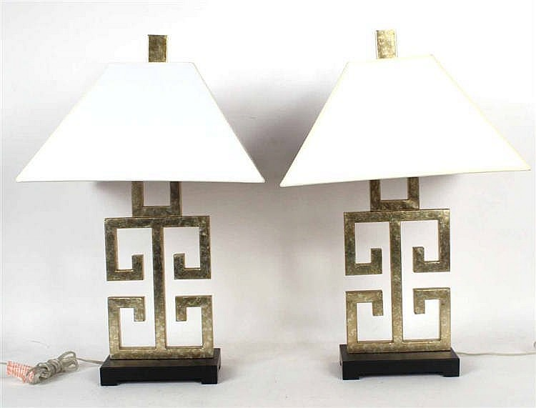 Pair of Gold-and-Silver Painted Metal Table Lamps