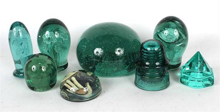 Six Green-Glass Paperweights