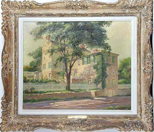 A FRAMED OIL ON CANVAS OF THE PARKER CASTLE IN