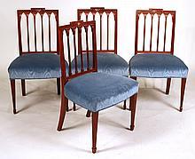 Four George III Mahogany Side Chairs
