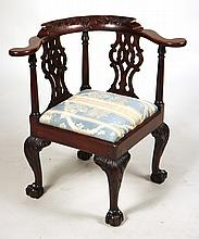 Chippendale Carved Mahogany Corner Chair