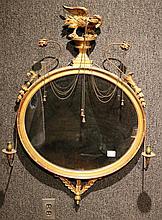 Federal Oval Gilded Girandole Mirror