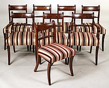 Eight Regency Carved Mahogany Dining Chairs
