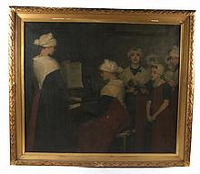 Oil on Canvas, Choir Scene, Therese Schwartz