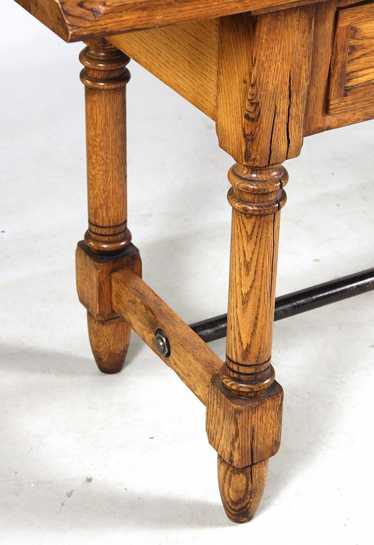 Ralph Lauren Metal Mounted Oak Console Table