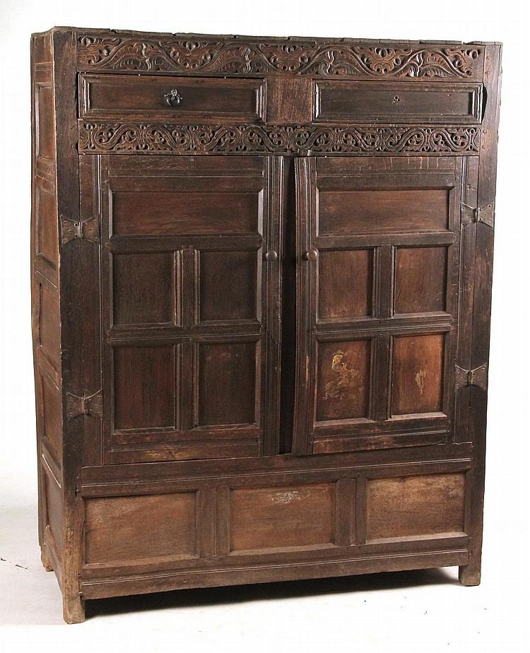 Baroque style oak cabinet for Baroque 2 door accent cabinet