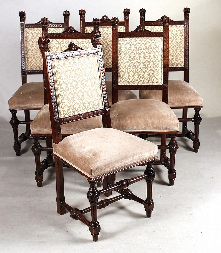 Six baroque style walnut dining chairs for Baroque dining furniture