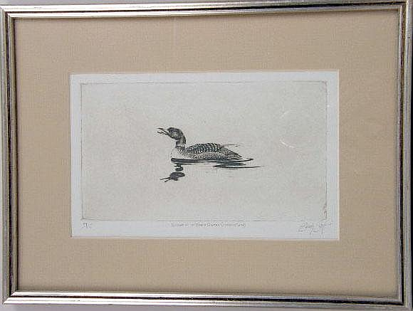 A FRAMED ETCHING BY SANDY SCOTT