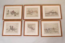 Six Thomas Carr Hand-Colored Etchings