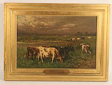Oil on Panel, Cows in Field, Johannes de Haas