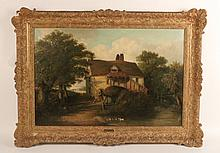 Oil on Canvas, Cottage Scene, Thomas Smythe
