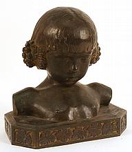 Bronze Sculpture, Bust of Girl, Paul Silvestre